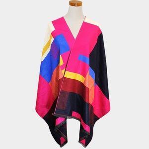 Multicolored Geometric Shaped Pattern Ruana Poncho